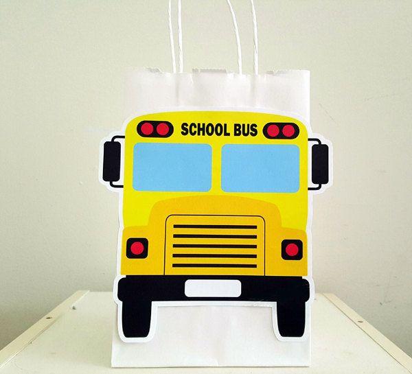 School Bus Goody Bags, School Bus Favor Bags, School Bus Party Bags, Back to School Goody Bags, Back to School Favor Bags, Back to School by CraftyCue on Etsy