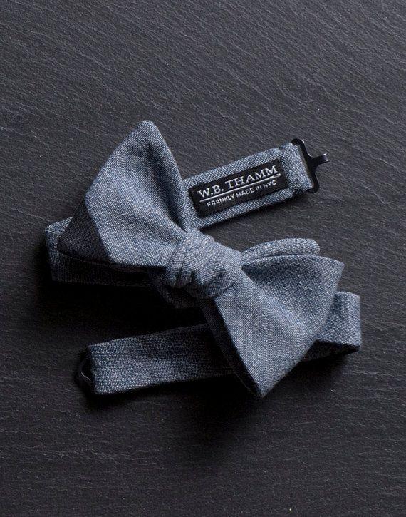 Woody Men's Bow Tie - Dark blue denim chambray with black tip