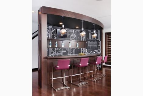 Fabulous bar accented with purple bar stools - Pantone's color of the year!