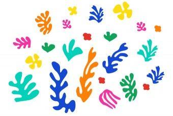 """Scherenschnitt-Collage nach Henri Matisse - 1941 erkrankte Matisse und blieb den Rest seines Lebens an den Rollstuhl gebunden. Da ihm das Arbeiten mit dem Pinsel schwerfiel, fing er an """"mit der Schere zu malen"""", also Papier zu schnipseln, wie damals als er noch ein Kind war. Er ließ große Papierbögen in kräftigen Farben mit Wasserfarben monochrom (einfarbig) bemalen. Danach schnitt er frei aus der Hand abstrakte Formen mit der Schere aus und ließ sie von seiner Assistentin auf einem großen…"""