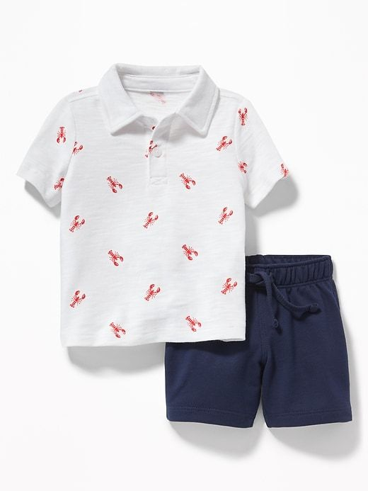 7eb719945 Old Navy Babies  Patterned Polo   French Terry Shorts Set Lobster  Print Navy Blue Size 12-18 M