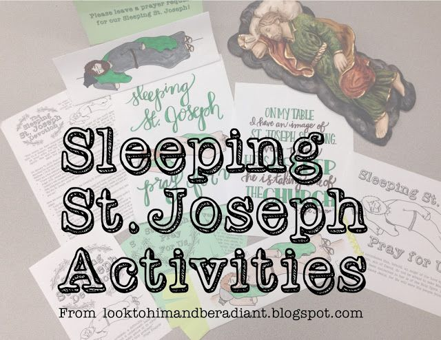 Look to Him and be Radiant: Sleeping St. Joseph activities, printables, and coloring pages related to Pope Francis' devotion to Sleeping St. Joseph