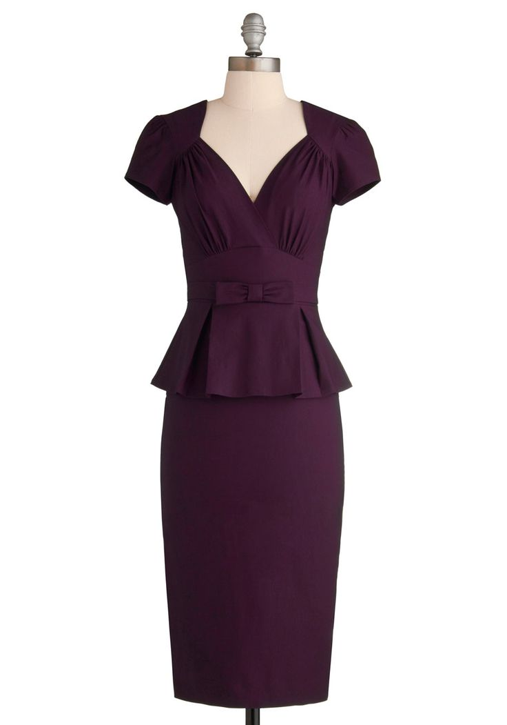 Irresistible Enchantress Dress in Eggplant - Purple, Solid, Work, Rockabilly, Pinup, Vintage Inspired, Peplum, Short Sleeves, Long, Bows, V Neck, Pleats, Exclusives