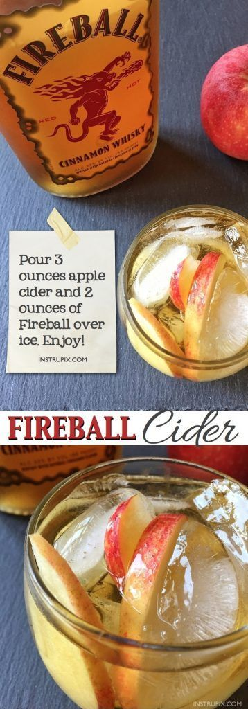 Easy Fireball Drink Recipe | 6 easy holiday cocktail recipes using just 2 ingredients! All made with alcohol for adults. These drinks are perfect for Christmas or Thanksgiving, and super easy for a crowd. A variety of whiskey, vodka and wine. Instrupix.com