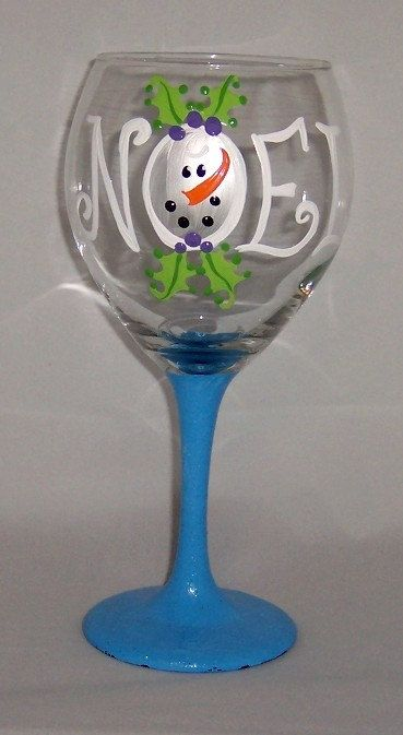 Noel Snowman Christmas design hand painted on our 20 ounce balloon wine glass.  Dishwasher safe on top rack china setting. Free