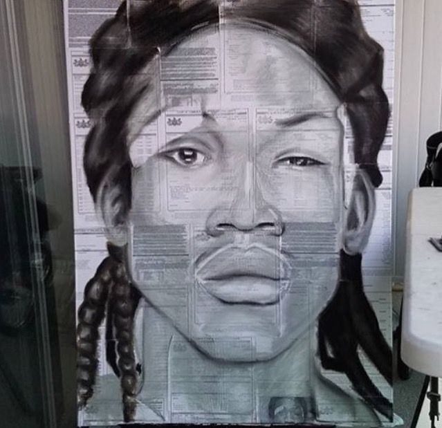 "Painting by R. Craig of Rapper Meek Mill's mugshot when he was assaulted by cops and and woke up in a hospital on the grounds that he ""injured an officers hand"". Bystander Nena Harth was also arrested for walking by and ended up with a 2 year sentence. The painting is composed of the court papers of that case."