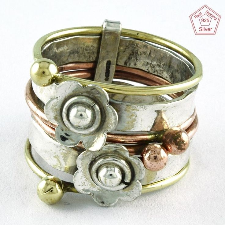 SZ. 9 US FASHIONABLE 925 STERLING SILVER, COOPER & BRASS STACKABLE RING #SilvexImagesIndiaPvtLtd #Stackable #AllOcassions