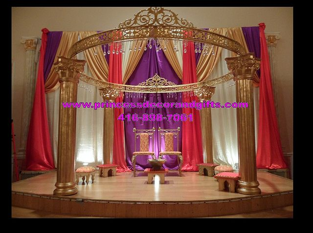 Mandap stage decor gold purple and red ever after high decor