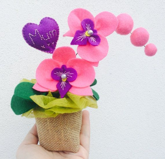 Felt Orchid Flower Pot Mother S Day Birthday Flower Gift Teacher S Gi Moja Strona Flower Gift Felt Flowers Diy Felt Flowers