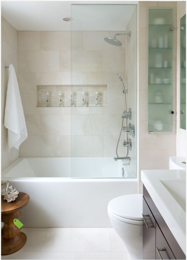 add half glass wall in second bath instead of putting up shower curtain for a cleaner look. one day.
