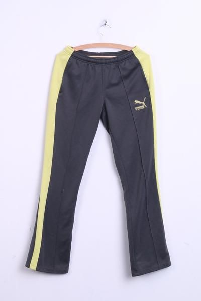 Puma Womens 12 M Trousers Tracksuit Pants Grey Yellow Sport - RetrospectClothes