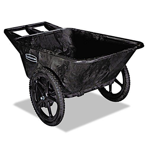 Rubbermaid Commercial FG564200BLA HDPE Big-Wheel Dump Truck, 300-pound Capacity, Black