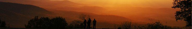 Visitors bask in a golden sunset at Dickey Ridge Visitor Shenandoah National Park