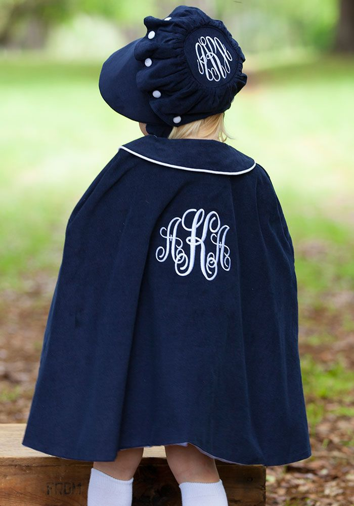 Navy Corduroy Cape and matching bonnet.  Shrimp and Grits Kids