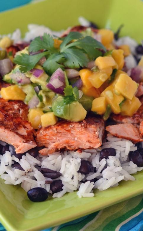 CARIBBEAN SALMON AND RICE WITH TROPICAL SALSA #InstantPot From frozen to cooked in minutes using your Instant Pot pressure cooker this Caribbean Salmon with Tropical Salsa is easy and amazing. via @onceamonthmeals