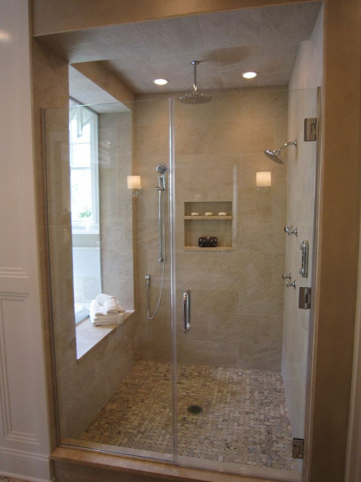 Master shower with window bathrooms pinterest for Master bath windows