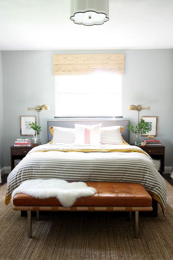 Perfect mix of masculine and feminine in this bedroom. #MasculineBedding