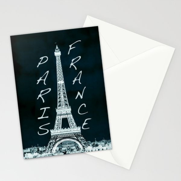 La Tour Eiffel - The Eiffel tower inverse with text Stationery Cards by Bruce Stanfield | Society6