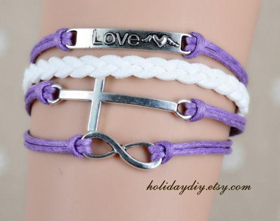 Best Sisters gift,Bridesmaid gifts,Infinity bracelet Lettering sister charm,Hand-woven white bracelet,Lavender bracelet,IB251