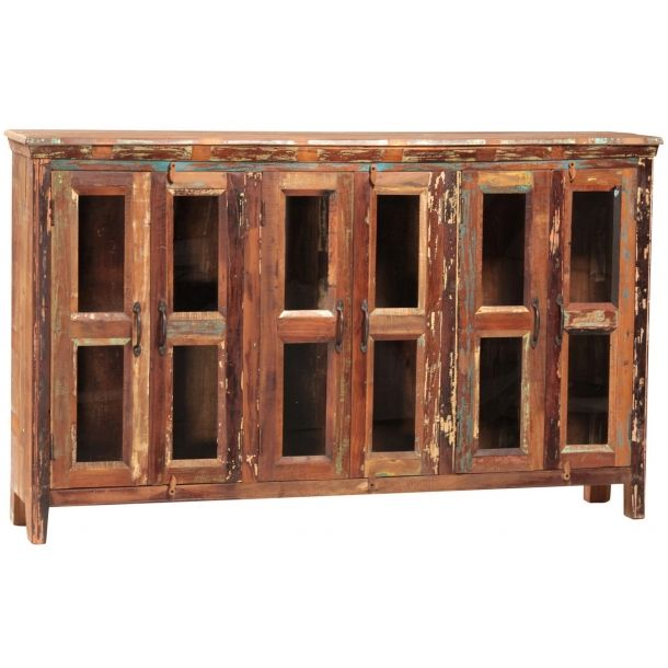 Nantucket Sideboard W Glass Doors Wood BuffetBuffet