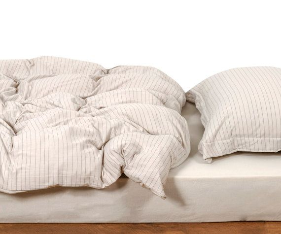 Minimalist Duvet Cover Light Grey Striped Duvet Cover Set Twin Full Queen Egyptian Cotton Bedding