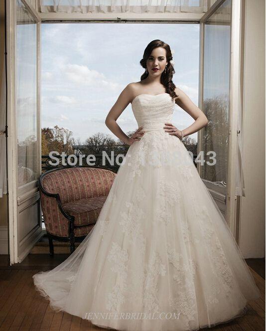 Хиты 2014 продажи линии без бретелек свадебное платье тюль с аппликациями