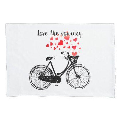 Love the Journey Inspirational Vintage Bike hearts Pillowcase - vintage heart gifts love hearts custom