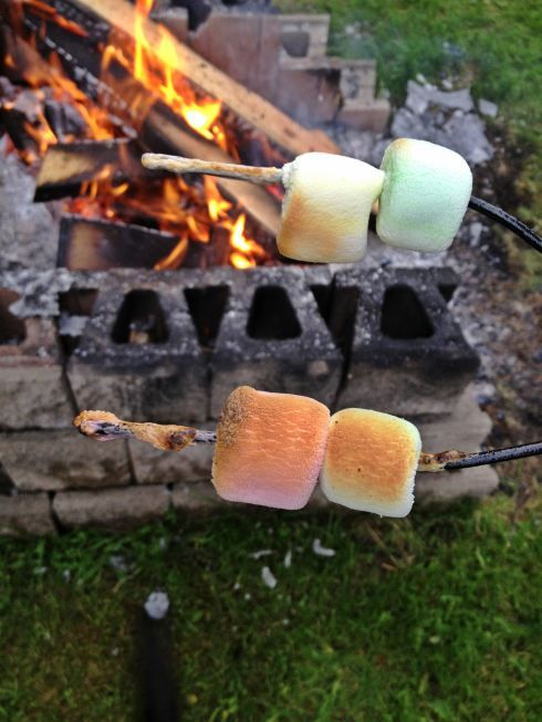 S'mores in the making.