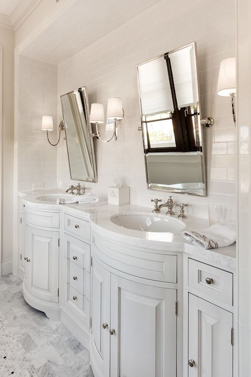 Beautiful Bathroom With Built In Light Gray Bow Front Double Vanity With  His And Hers