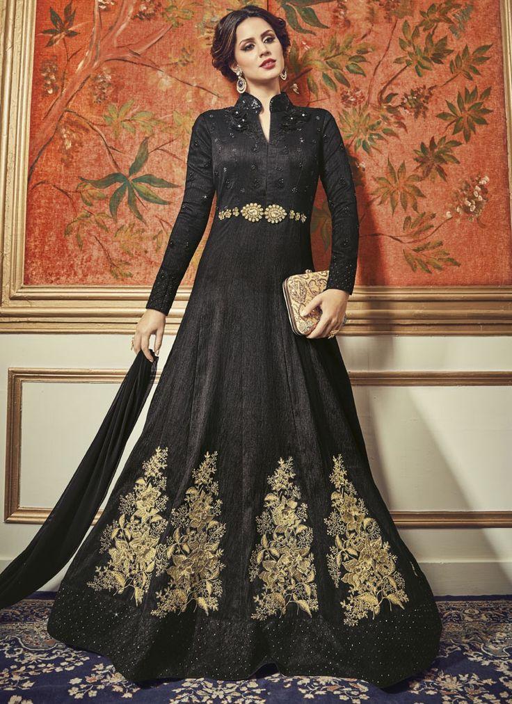 Enticing Black Silk Party Wear designer Salwar Kameez