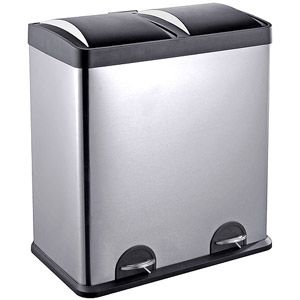Step Nu0027 Sort 16 Gallon 2 Compartment Stainless Steel Trash And Recycling Bin