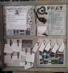 Prayer Board. War room. Sectioned board for recording and aiding prayers.