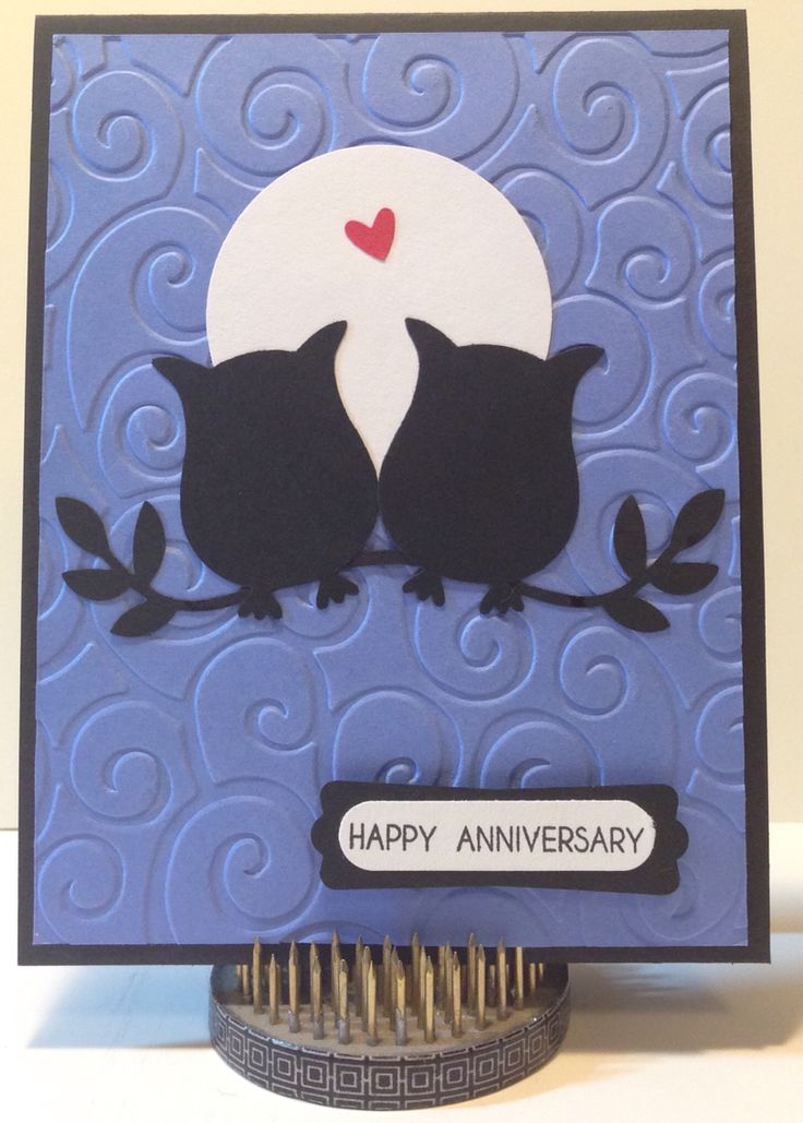 Anniversary card using Stampin' Up Owl punch P&N 2015
