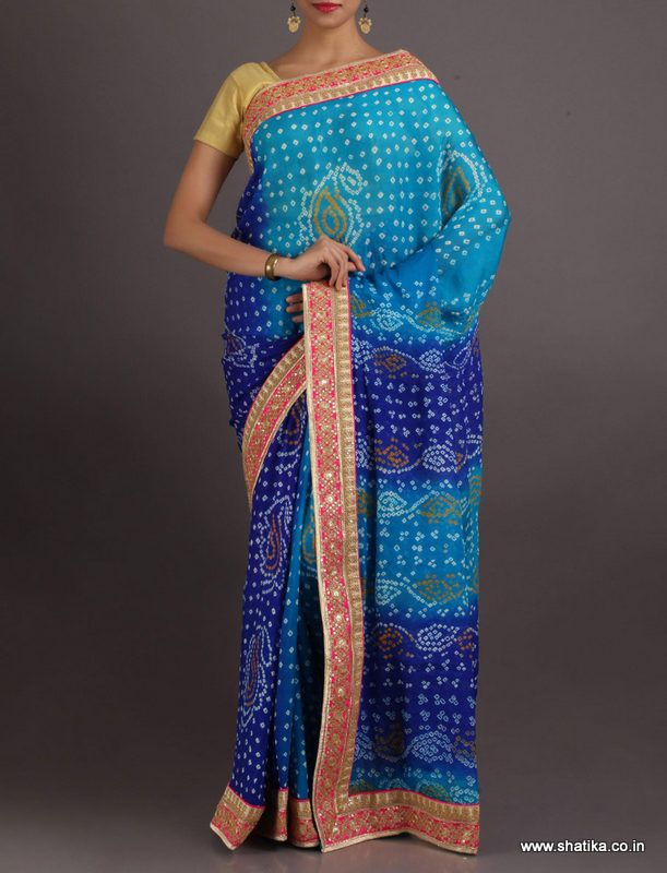 Roshni Stripes Of Pattern Pure Crepe Chiffon #BandhejSaree