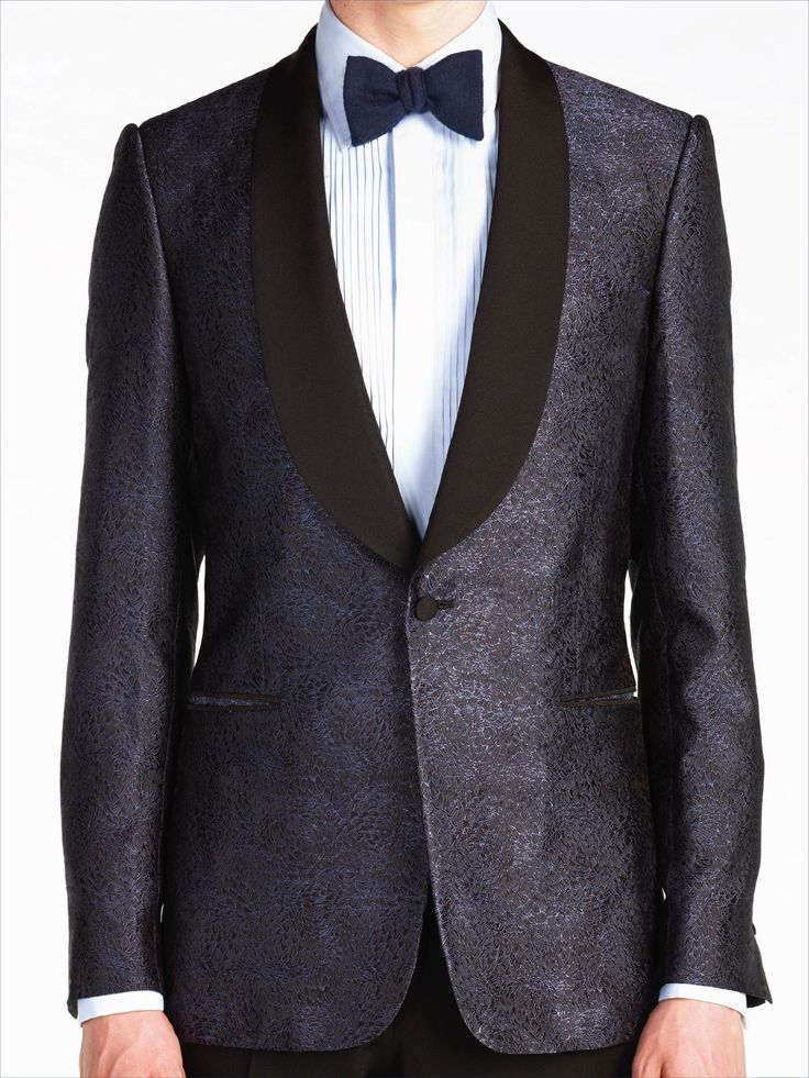 Navy Blue Silk Jacquard Shawl Collar Dinner Jacket | Black ...