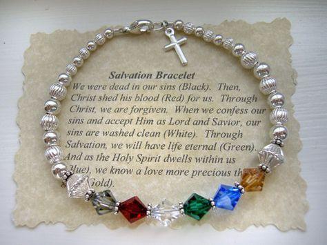 SALVACIÓN oración Pulsera plata cristal de Swarovski con encanto cruz