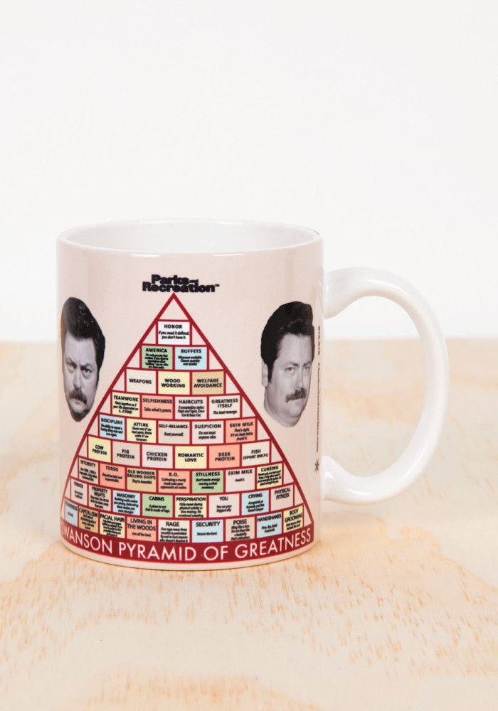 Drink your coffee out of this ceramic mug featuring Ron Swanson's Pyramid Of Greatness. - 11 oz