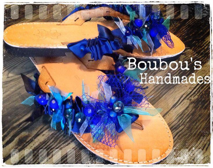 Handmade leather sandals! Blue colourz....summer's choice ! DIY