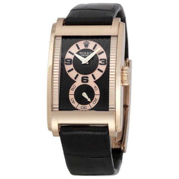 Rolex Cellini Prince Black Dial Leather Strap Men's Watch