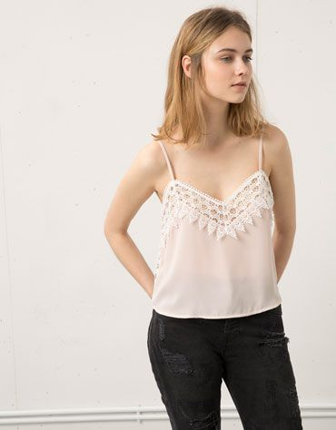 Bershka Switzerland - Bershka cropped top guipure