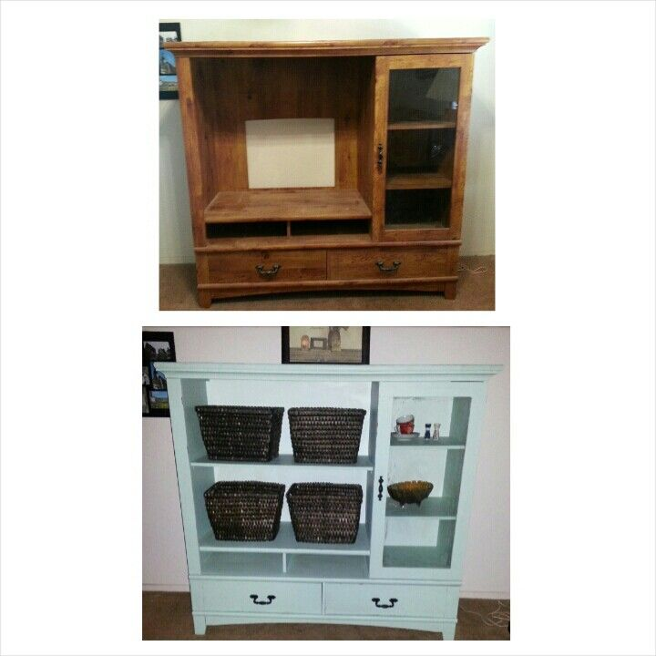 Entertainment center redo. I repurposed this by adding a shelf and taking the cardboard backing off and replacing it with wood and then I chalk painted it!  Ta da! My first project!  I am proud!