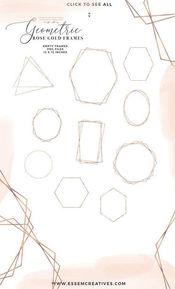 Empty Rose Gold Geometric Frames Clipart Crystal Frames