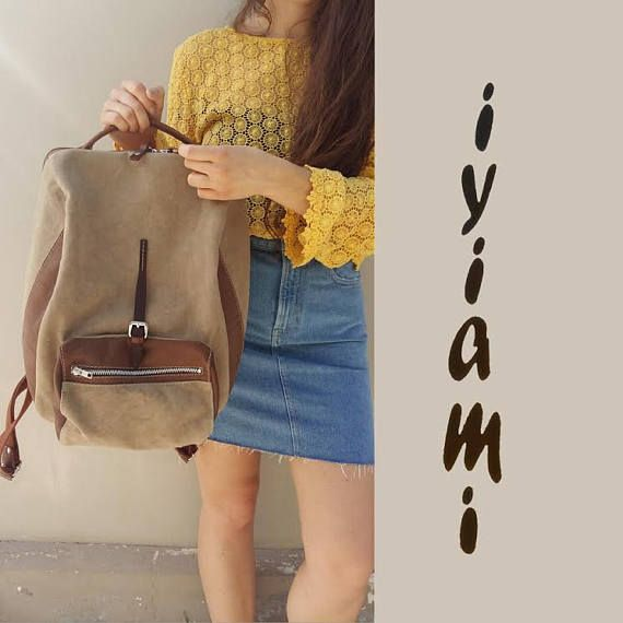 Handmade stylish backpack for men and women in canvas-leather