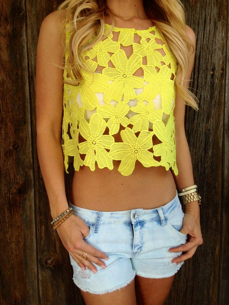 Neon Flower Cut Out Top