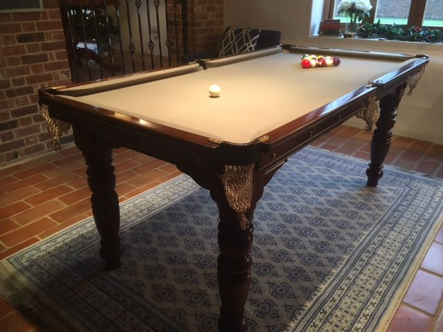 6ft antique pool table taupe cloth