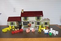 Vintage Marx Tin Litho 2 Story Colonial House Dollhouse Game room & Furniture