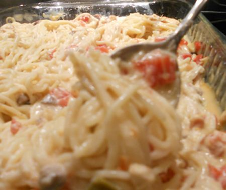 Pinner Says: This is my FAVORITE recipe ever & everyone always loves it- it also lasts for a couple days * tastes even better day two! Chicken Spaghetti You need only seven ingredients: angel hair pasta, chicken (grilled or canned), cream of chicken and cream of mushroom soup, Rotel, sour cream and cheese.