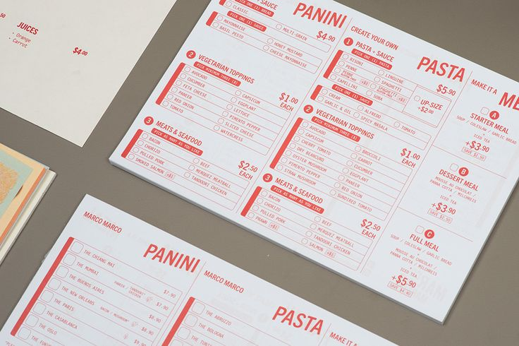 Visual identity and menus by Acre for Singapore based Italian restaurant brand Marco Marco