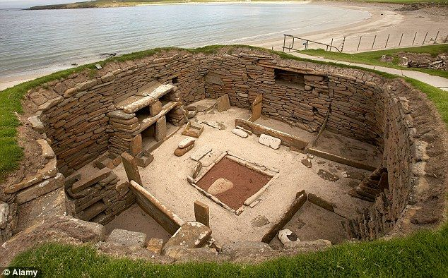 An excavated house in a Stone Age village dating back to 3100BC in the Bay of Skaill, Orkney mainland, Scotland