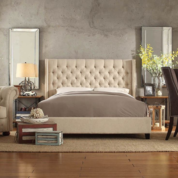 INSPIRE Q Naples Beige Linen Wingback Button Tufted Upholstered Bed    Overstock™ Shopping   Great Deals On INSPIRE Q Beds